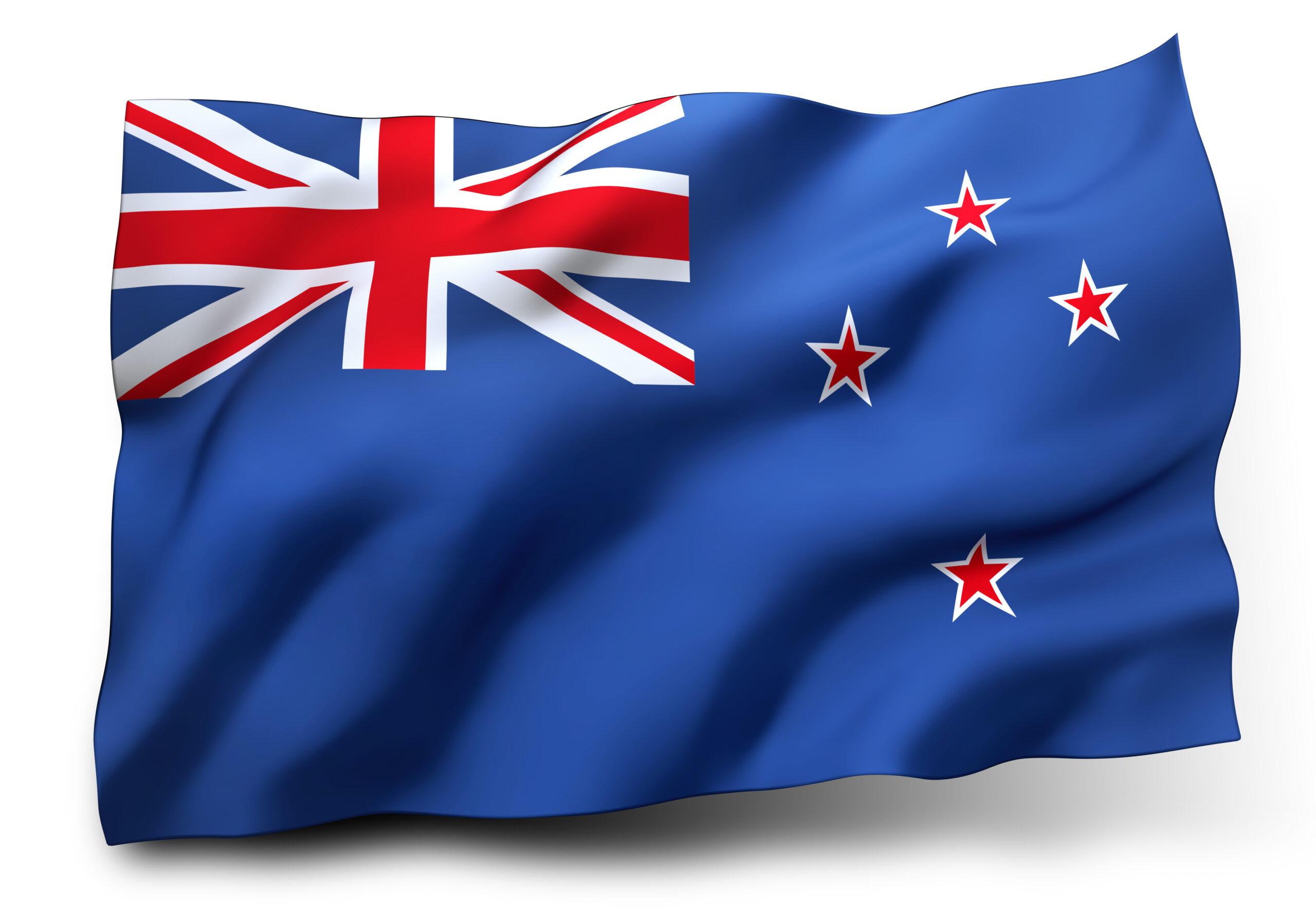 Waving flag of New Zealand isolated on white background